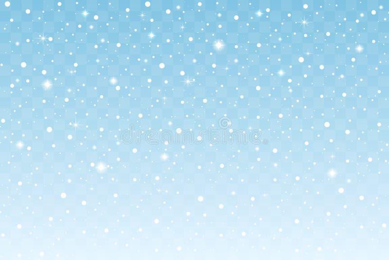 Fallande snö med gnistrandet som isoleras på blå genomskinlig bakgrund nytt år för julgarnering vektor vektor illustrationer