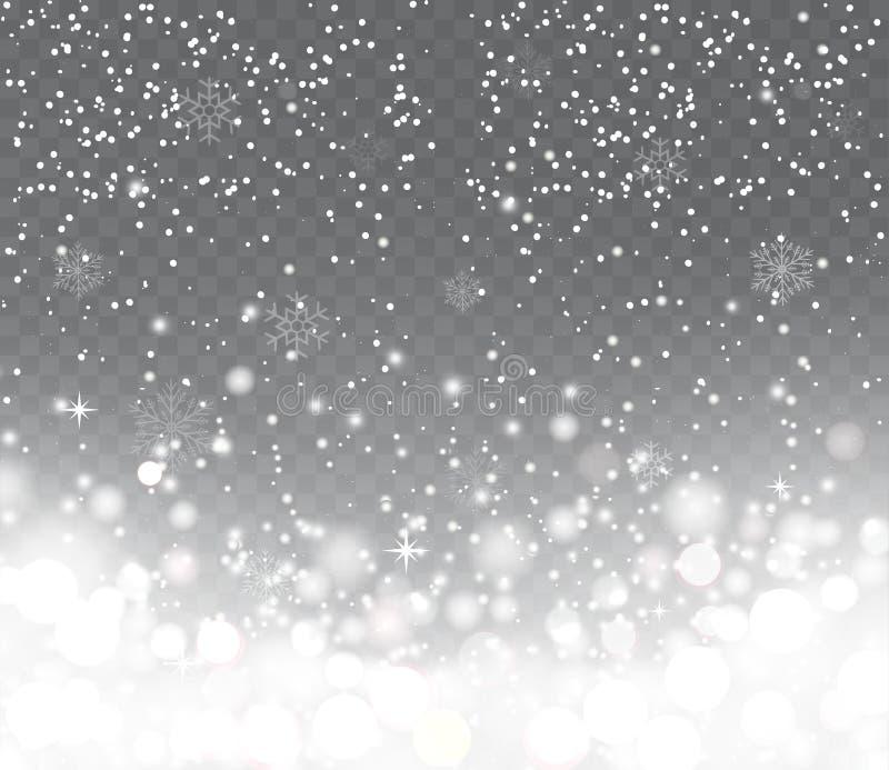 Fallande snö med snöflingor på genomskinlig bakgrund vektor illustrationer