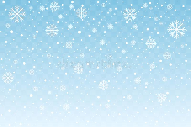 Fallande snö med stiliserade snöflingor som isoleras på blå genomskinlig bakgrund nytt år för julgarnering vektor vektor illustrationer