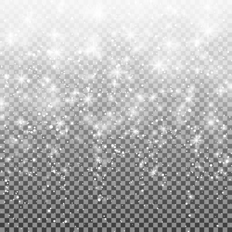 Fallande snö på en genomskinlig bakgrund Vektorillustration 10 eps Abstrakt vit blänker snöflingabakgrund royaltyfri illustrationer