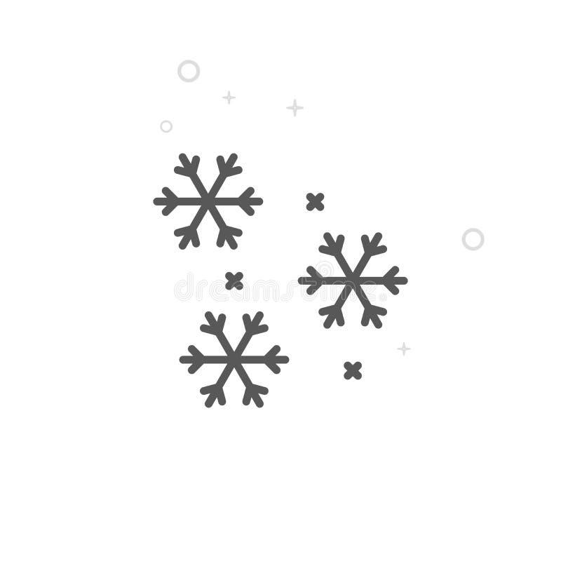 Fallande snö, snöflingavektorlinje symbol, symbol, Pictogram, tecken Ljus abstrakt geometrisk bakgrund Redigerbar slaglängd stock illustrationer