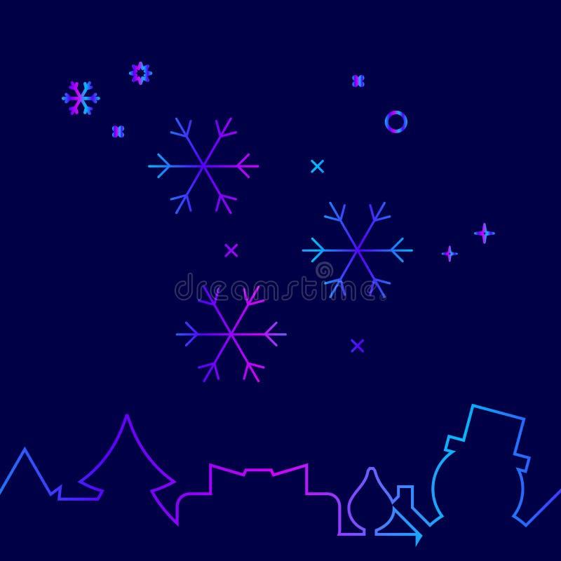 Fallande snö, snöflingavektorlinje symbol, symbol, Pictogram, tecken på ett mörkt - blå bakgrund Släkt nedersta gräns stock illustrationer