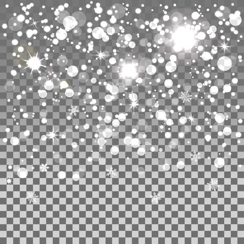 Fallande snö som isoleras på en genomskinlig bakgrund royaltyfri illustrationer