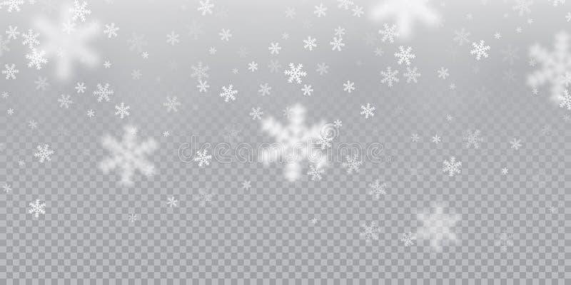 Fallande snöflingamodellbakgrund av vit kall snöfallsamkopieringstextur på genomskinlig bakgrund VinterXmas-snö f stock illustrationer