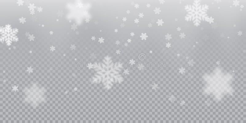 Fallande snöflingamodellbakgrund av vit kall snöfallsamkopieringstextur som isoleras på genomskinlig bakgrund VinterXmas-snö f vektor illustrationer
