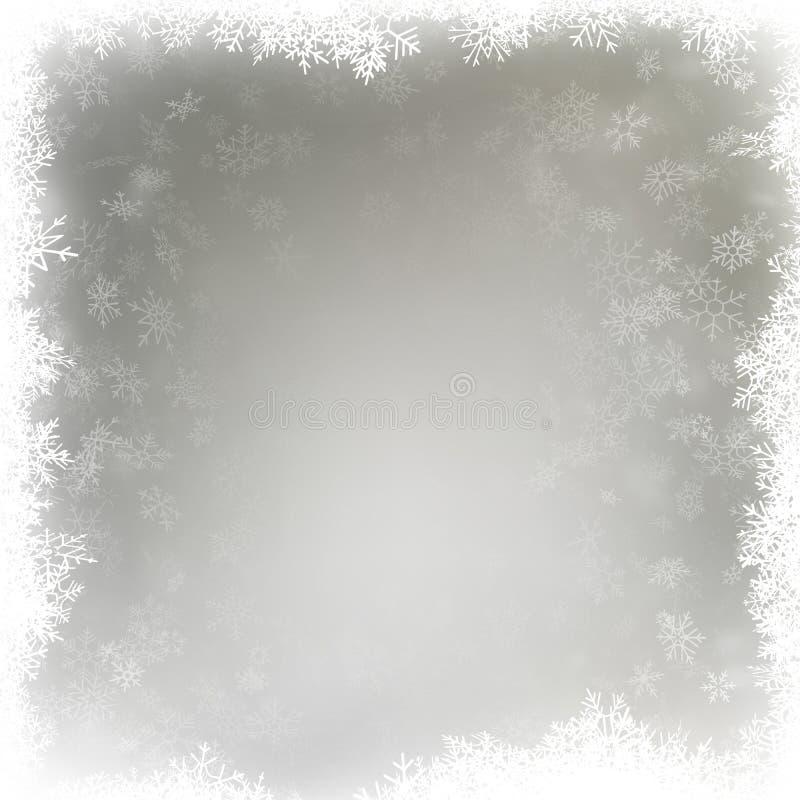 Fallande snöflingor på en oskarp grå bakgrund 10 eps stock illustrationer