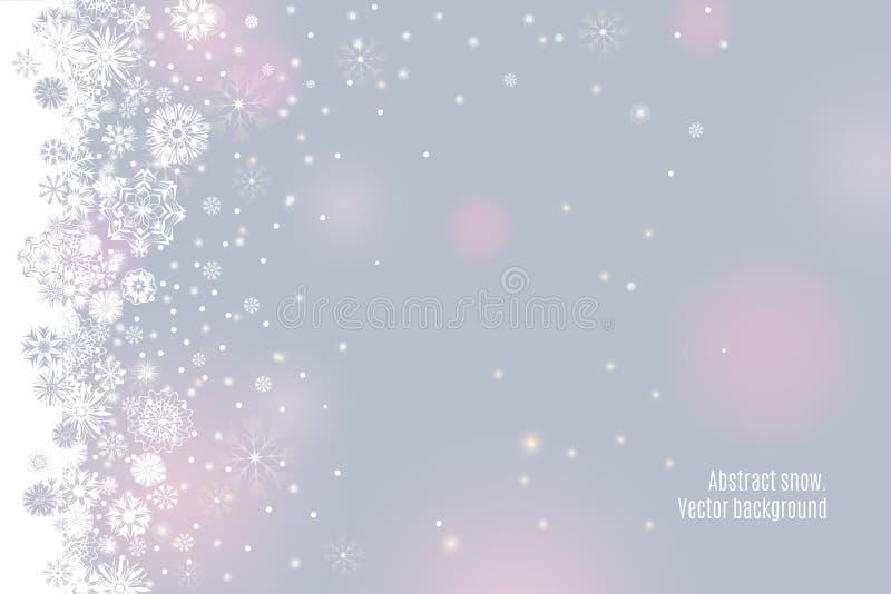Fallande snögräns på en ljus mjuk silvergrå färgbakgrund stock illustrationer