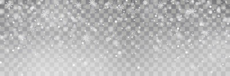 Fallande snövektor för jul som isoleras på bakgrund Genomskinlig garneringeffekt för snöflinga xmas vektor illustrationer