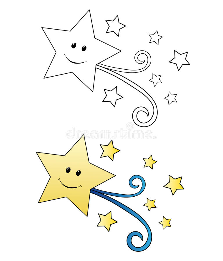 fallande stjärna för tecknad film royaltyfri illustrationer