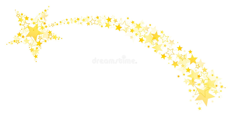 Fallande stjärna med svansen ut ur stor och liten stjärnaguld royaltyfri illustrationer