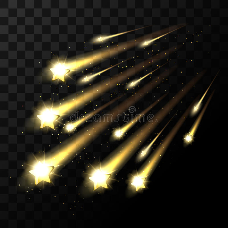 Fallande stjärnor för vektor på genomskinlig bakgrund Skytte för utrymmestjärnaljus i mörker royaltyfri illustrationer