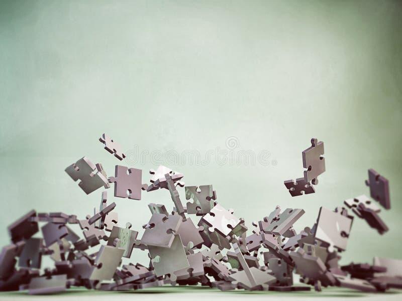 fallande styckpussel stock illustrationer