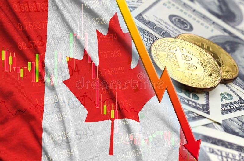 Fallande trend för för Kanada flagga och cryptocurrency med två bitcoins på dollarräkningar stock illustrationer