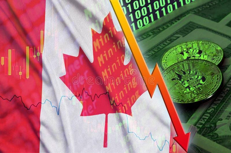 Fallande trend för för Kanada flagga och cryptocurrency med två bitcoins på dollarräkningar och skärm för binär kod stock illustrationer