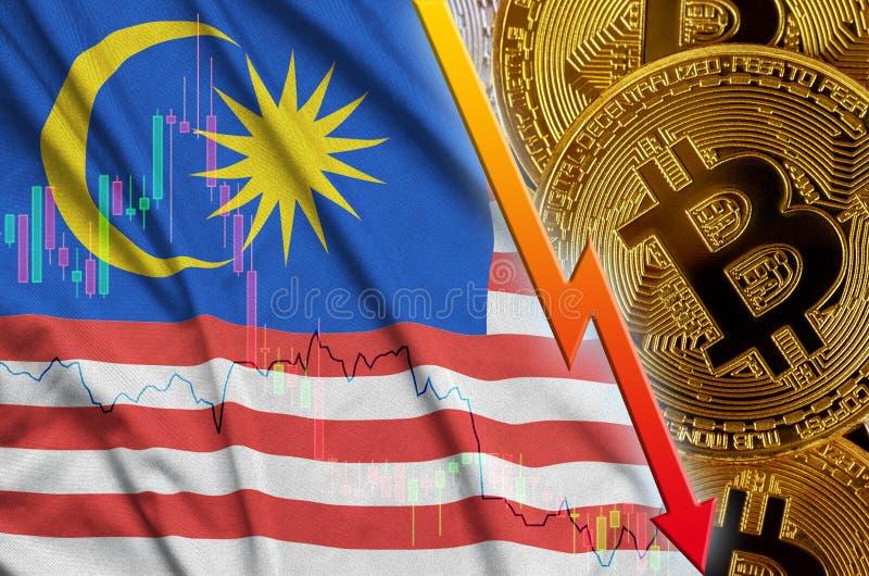 Fallande trend för för Malaysia flagga och cryptocurrency med många guld- bitcoins royaltyfri illustrationer