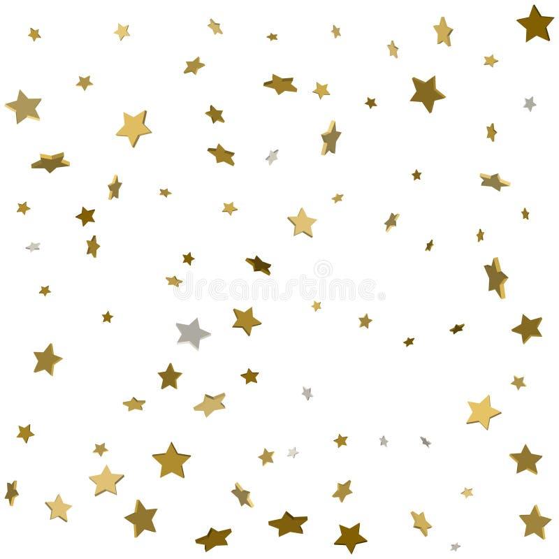 fallande tryck för stjärna 3d Gult stjärnklart för guld på genomskinliga Backgro stock illustrationer