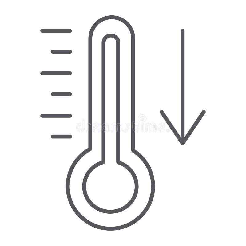 Fallande tunn linje symbol för temperatur, termometer och prognos, kallt temperaturtecken, vektordiagram, en linjär modell royaltyfri illustrationer