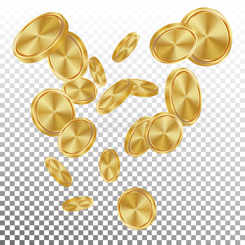Fallande vektor för guld- mynt Flyga realistisk guld- myntexplosion genomskinlig bakgrund Förmögenhet för bända pengar för kasino royaltyfri illustrationer