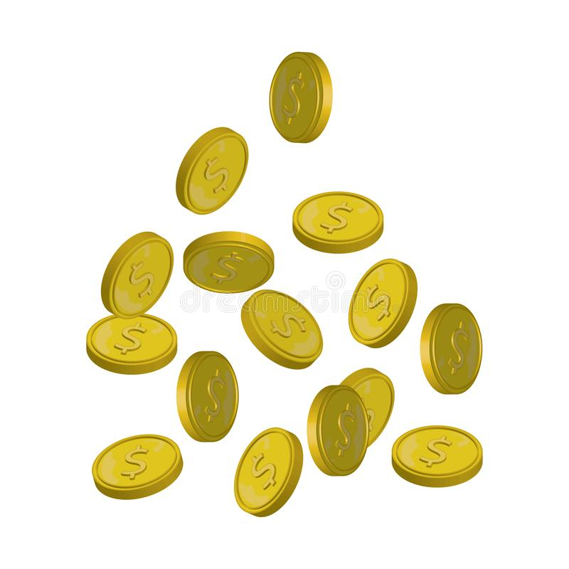 Fallande vektorillustration för mynt, fallande pengar som flyger guld- mynt, abstrakta mynt som tappar lägenheten för begrepp för stock illustrationer