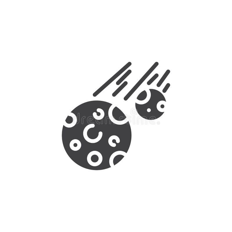 Fallande vektorsymbol för komet stock illustrationer