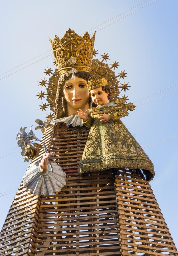 The Fallas Festival celebration in Valencia, Spain with sculpture of the Virgin Mary in street. stock images