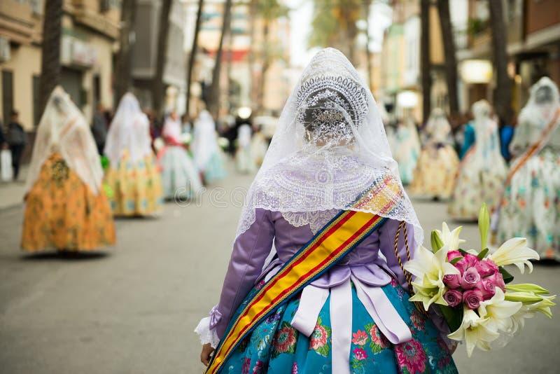 Fallas parade in Valencia. Fallas parade with traditional dress in Valencia, Spain stock photography
