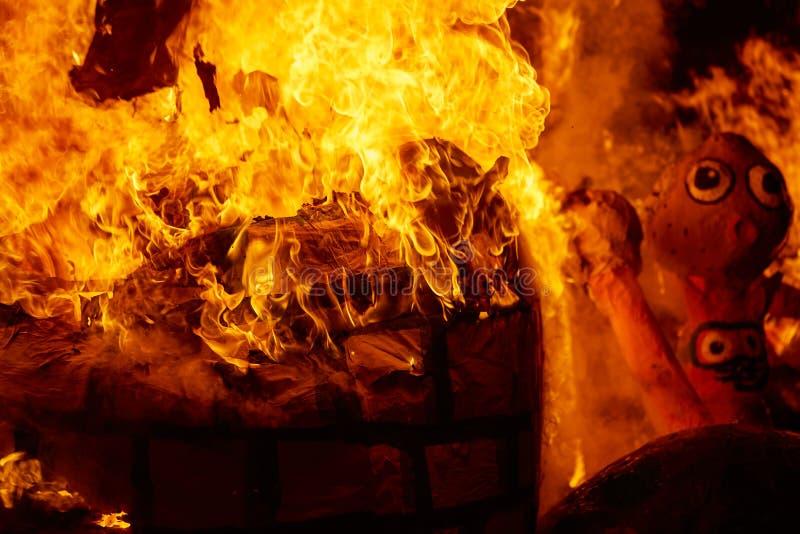 Fallasbrand het branden in Valencia fest in 19 Maart royalty-vrije illustratie