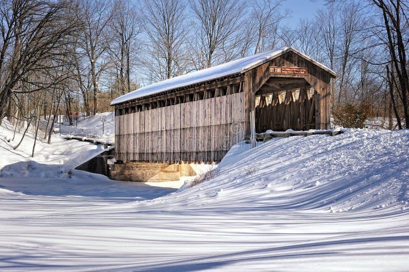 Fallasburg räknad bro i vinter - Lowell, MI royaltyfri bild