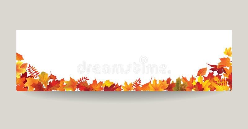 Fallblatt-Naturfahne Autumn Leaves Background Jahreszeit mit Blumen vektor abbildung