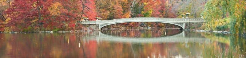 Falldämmerungpanorama der Bogen-Brücke in Central Park. stockbild