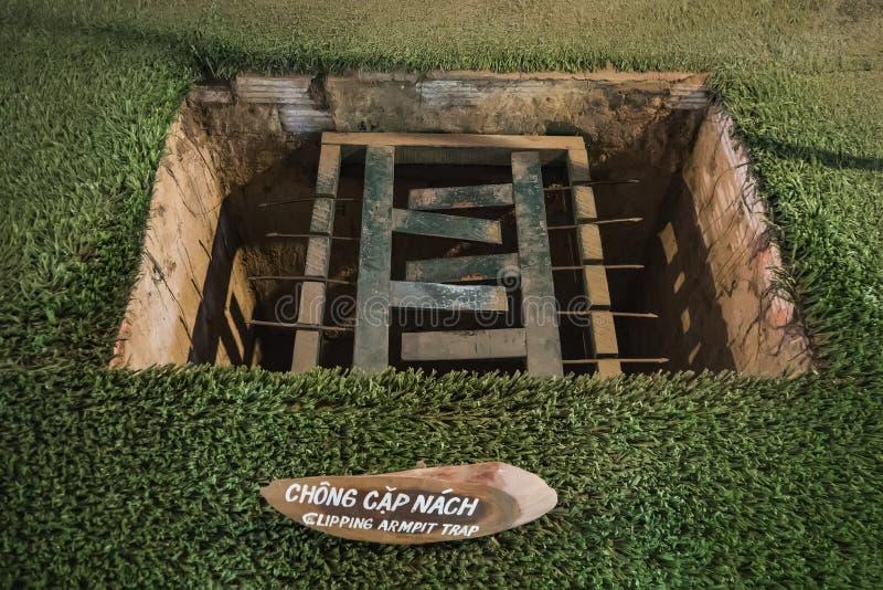 Falle benutzt w?hrend des Vietnamkriegs am Cu-Chi-Tunnel-Museum lizenzfreies stockbild