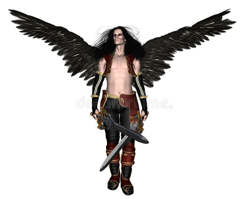 Fallen Angel - 1. Digital render of a Fallen Angel holding swords stock illustration