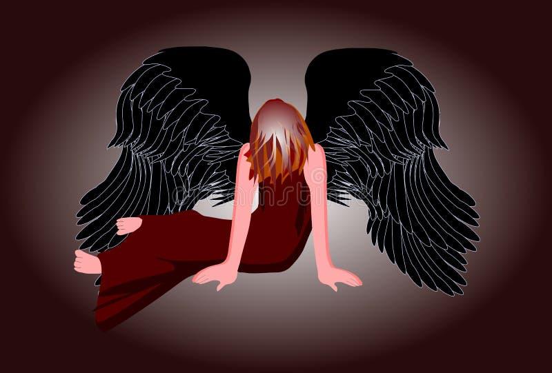 Fallen angel. With black wings stock illustration