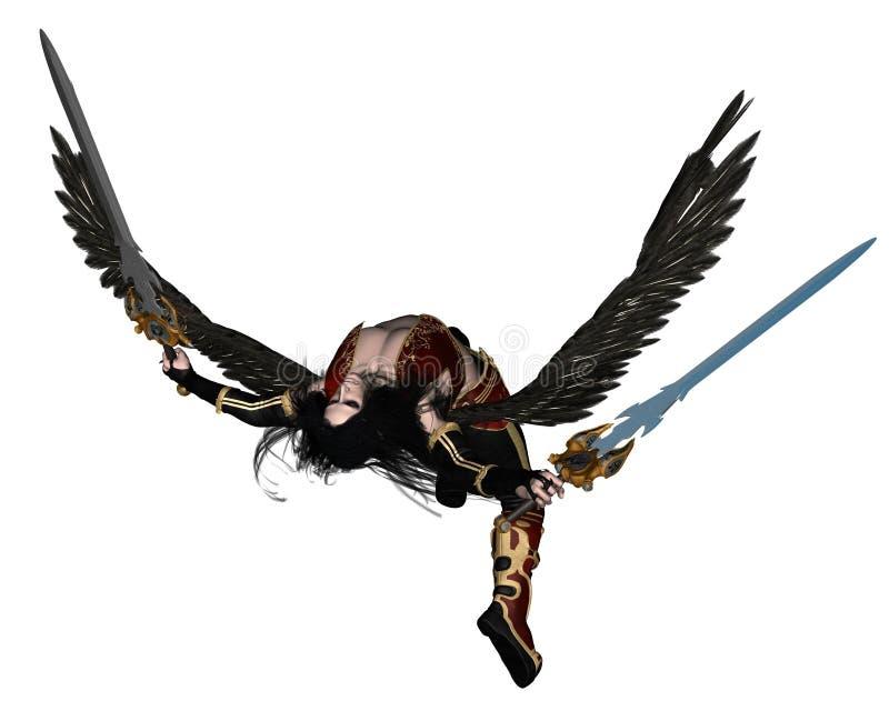 Fallen Angel - 2. Digital render of a Fallen Angel holding swords vector illustration