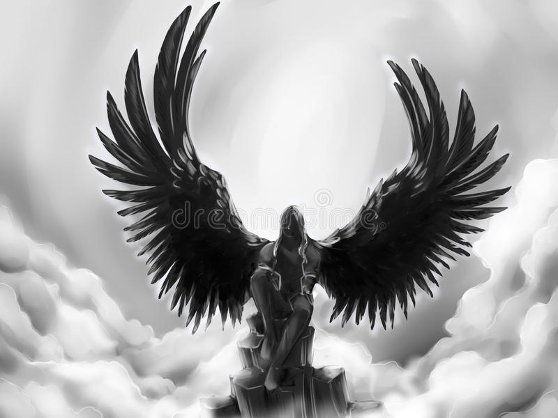 Fallen angel. Black fallen angel against the cloudy sky. His wings are black and look like those of a raven. Seated on the mountain top he is lost in thoughts