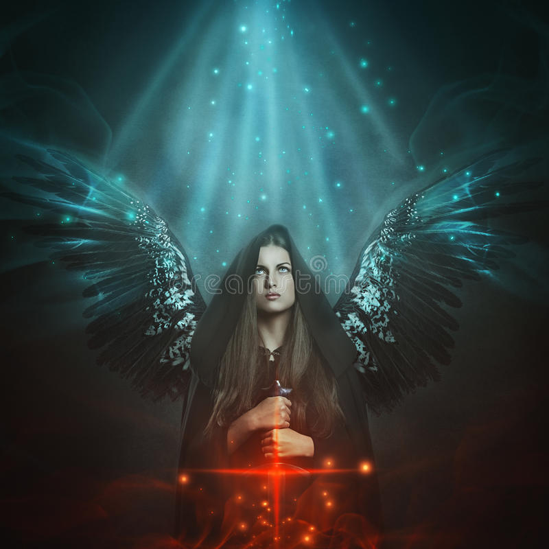 Fallen angel with black wings. Fantasy and mythology stock illustration