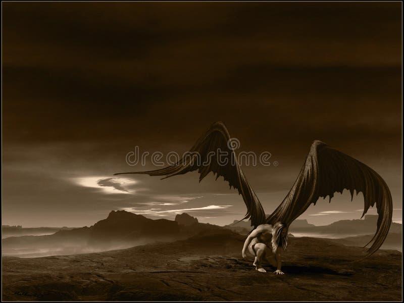Fallen angel. Dark scenery with fallen angel royalty free illustration