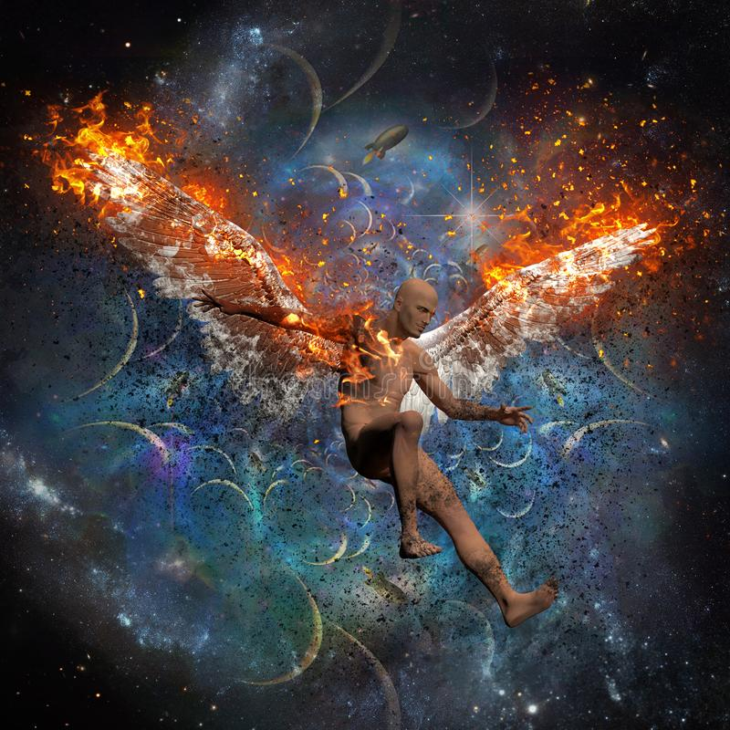 Fallen angel. Man with burning wings symbolizes fallen angel. Space and rockets on the background. Human elements were created with 3D software and are not from vector illustration