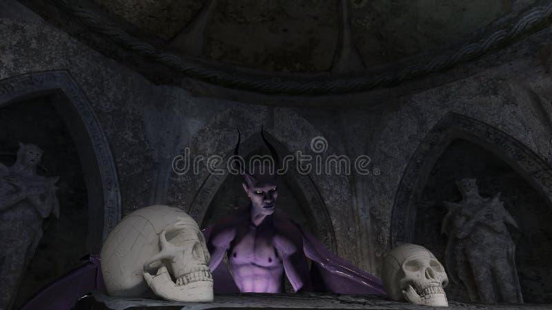 Fallen angel satan in a crypt with skulls. 3d rendering stock illustration
