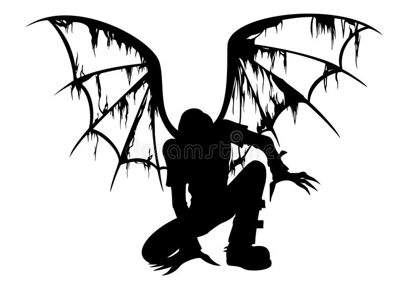 Fallen Angel Silhouette. Silhouette of the fallen angel with burned wings stock illustration