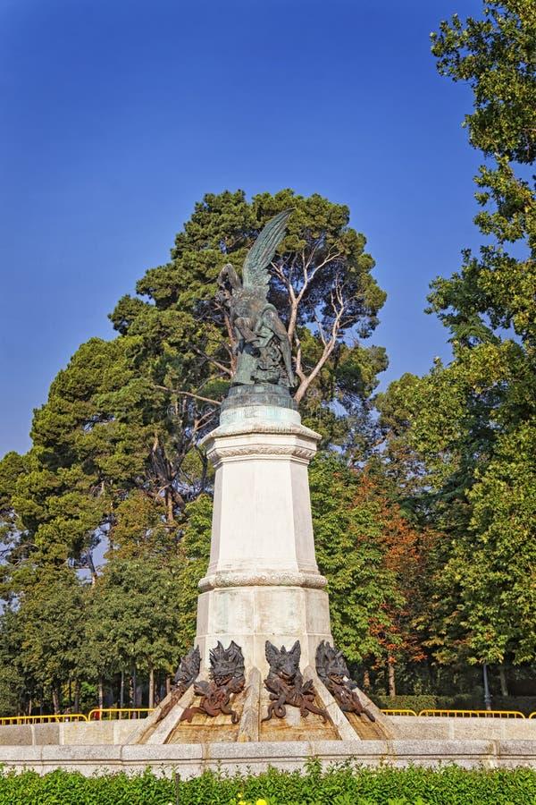 Fallen Angel statue in Retiro garden in Madrid royalty free stock images