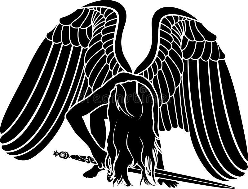 Fallen angel with sword. Revenge symbol vector illustration
