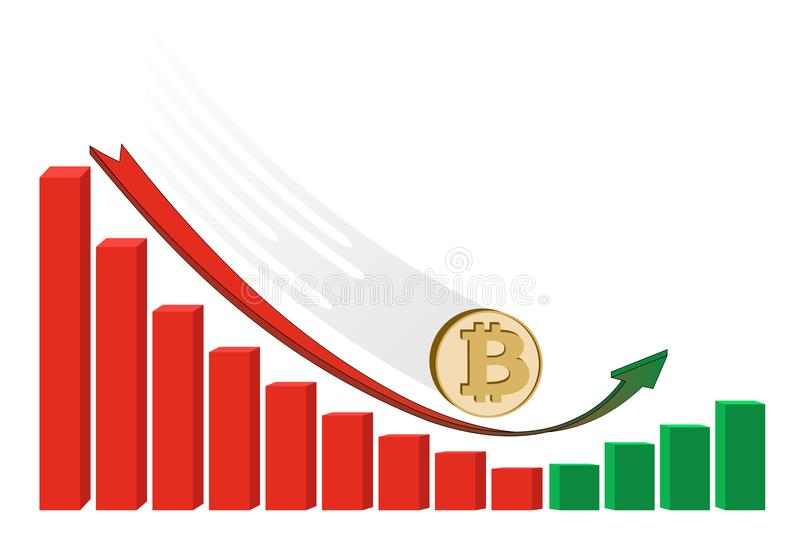 Fallen bitcoin coin starts to grow with diagram royalty free illustration