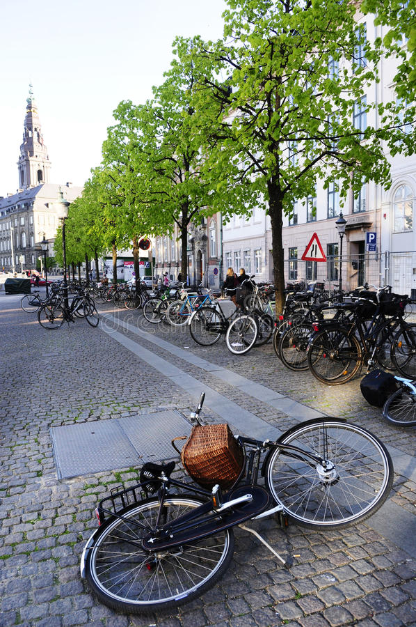 Fallen Black Bike - Urban Danish Scene stock images