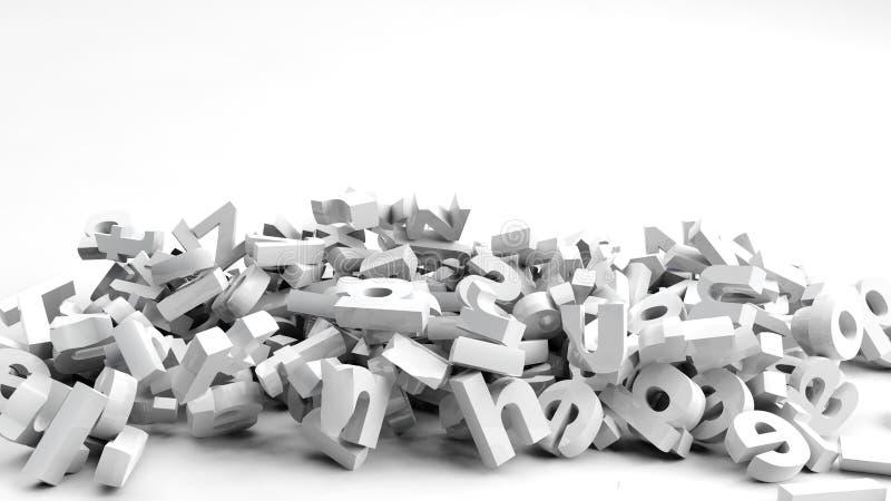 Fallen 3d letters. On white background stock illustration