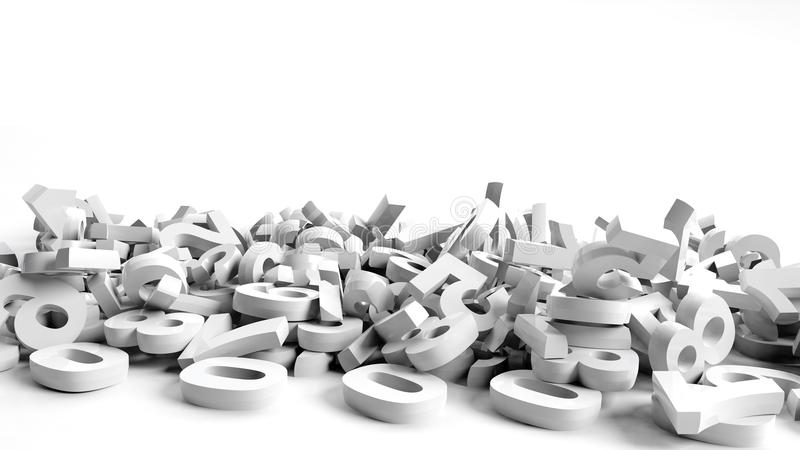 Fallen 3d numbers. On white background vector illustration