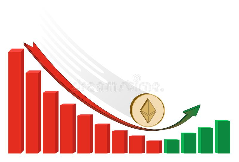 fallen ethereum coin starts to grow with diagram stock illustration