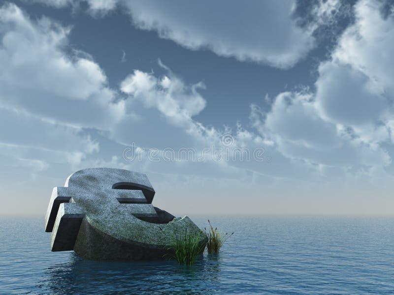 Fallen euro. Monument at the ocean - 3d illustration royalty free illustration