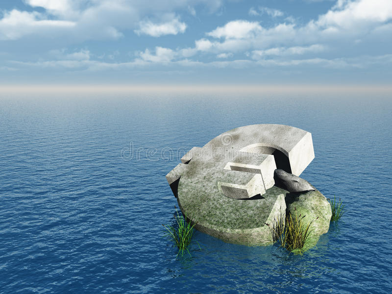 Fallen euro. Monument at the ocean - 3d illustration stock illustration