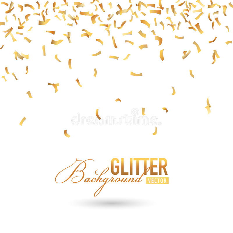 Fallen Golden Confetti Background stock illustration